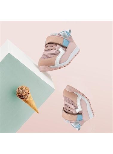 Kids A More Mignon Çift Cırtlı Deri Kız Bebek Sneaker  Pudra